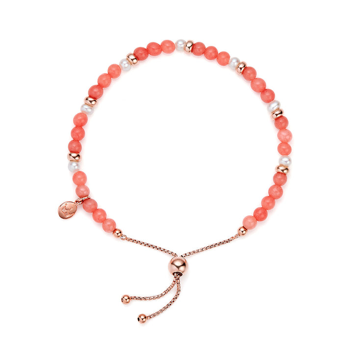 Jersey Pearl Sky Collection 4.5-5mm Freshwater Pearl and Coral Scatter Bracelet