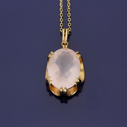 9ct Yellow Gold Rose Quartz Pendant