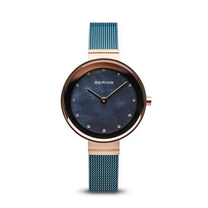 Ladies Classic Bering 28mm Rose & Blue PVD Milanese Bracelet Watch, 10128-368