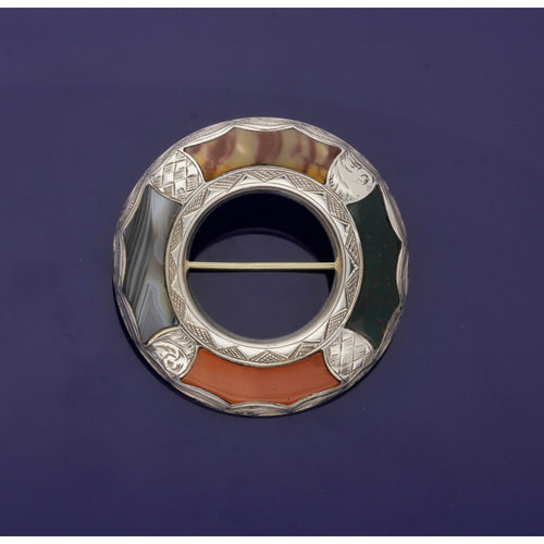 Silver Mixed Scottish Agate Cloak Brooch
