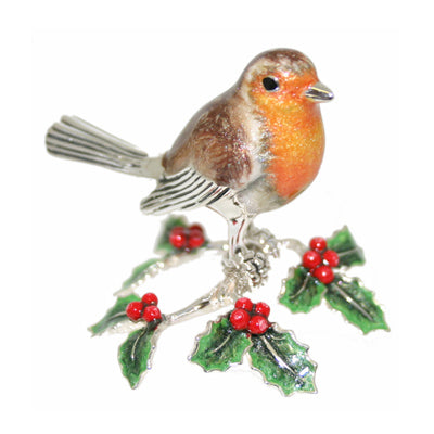 Silver Enamel Robin Standing on Holly Leaves