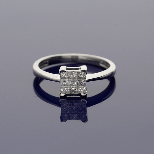 18ct White Gold and Princess Cut Diamond Cluster Ring