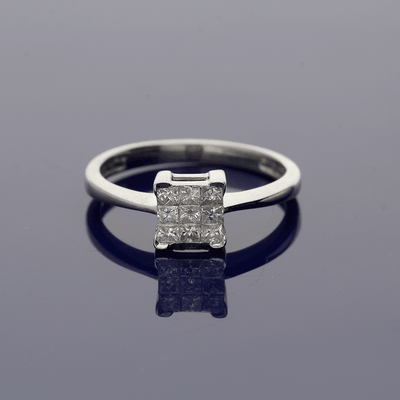 18ct White Gold 0.20ct Princess Cut Diamond Cluster Ring