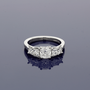 Platinum & Diamond Cushion Cut Solitaire Ring with Diamond Set Shoulders