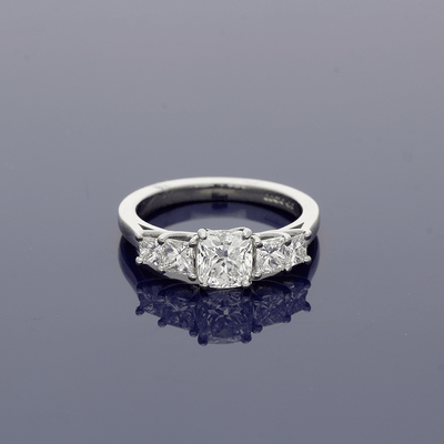 Platinum Diamond Cushion Cut Solitaire Ring with Diamond Set Shoulders