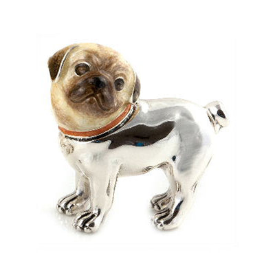 Silver Enamel Pug – Medium