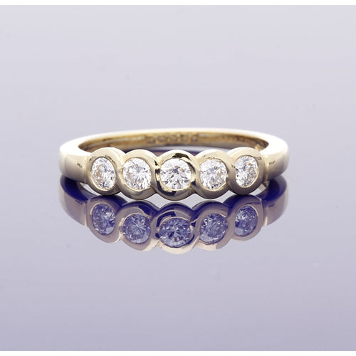 18ct Yellow Gold Rubover Set Diamond Eternity Style Ring
