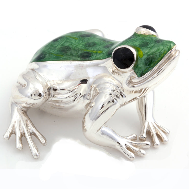 Silver and Enamel Frog – Very Large