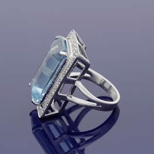 18ct White Gold Aquamarine and Diamond Ring