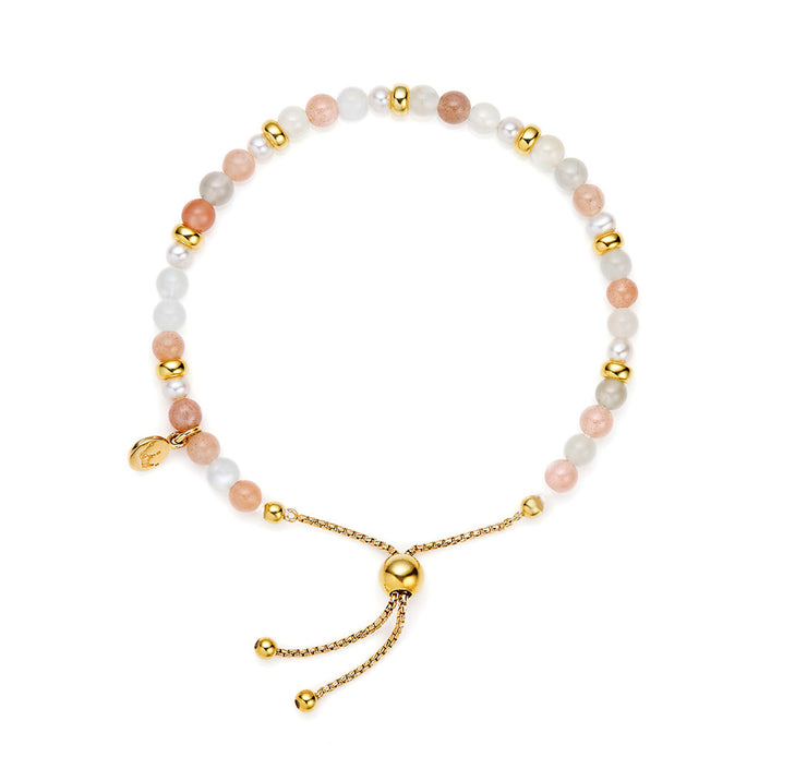 Jersey Pearl Sky Collection 4.5-5mm Freshwater Pearl and Moon Stone Scatter Bracelet