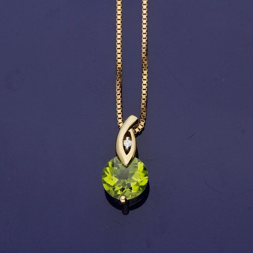 9ct Yellow Gold Peridot and Diamond Pendant