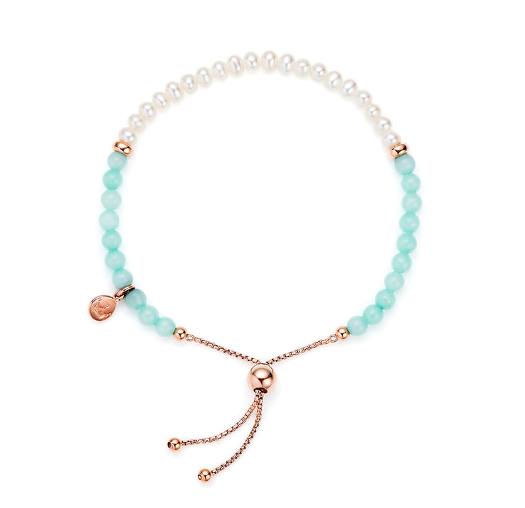 Jersey Pearl Sky Collection 4.5-5mm Freshwater Pearl and Mint Quartzite Bar Bracelet
