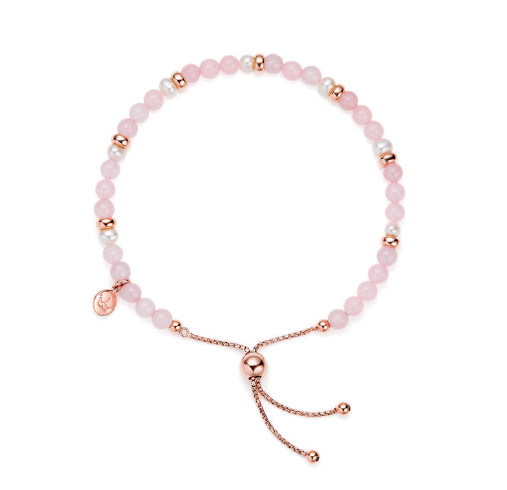 Jersey Pearl Sky Collection 4.5-5mm Freshwater Pearl and Rose Quartz Scatter Bracelet