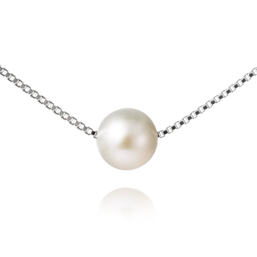 Jersey Pearl 8-8.5mm Freshwater Pearl And Sterling Silver Necklace 16/18