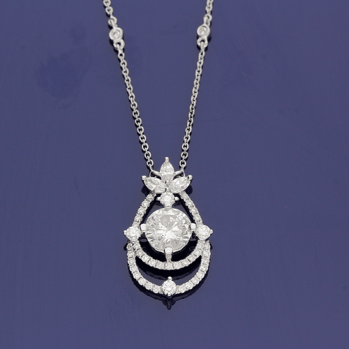 Diamond and 18ct White Gold Pendant