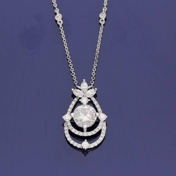 18ct White Gold Ornate Diamond Necklace