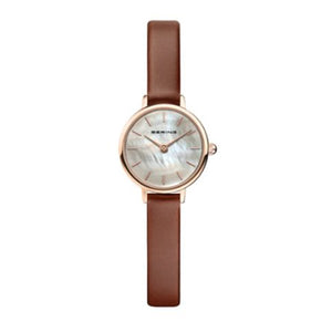 Ladies Classic Bering 22mm Rose Gold PVD Leather Strap Watch, 11022-564