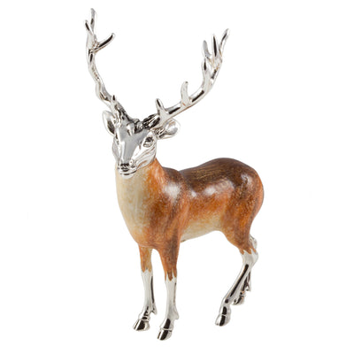 Silver Enamel Stag - Medium