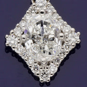 Platinum 1ct Oval Diamond Pendant with Diamond Halo Setting