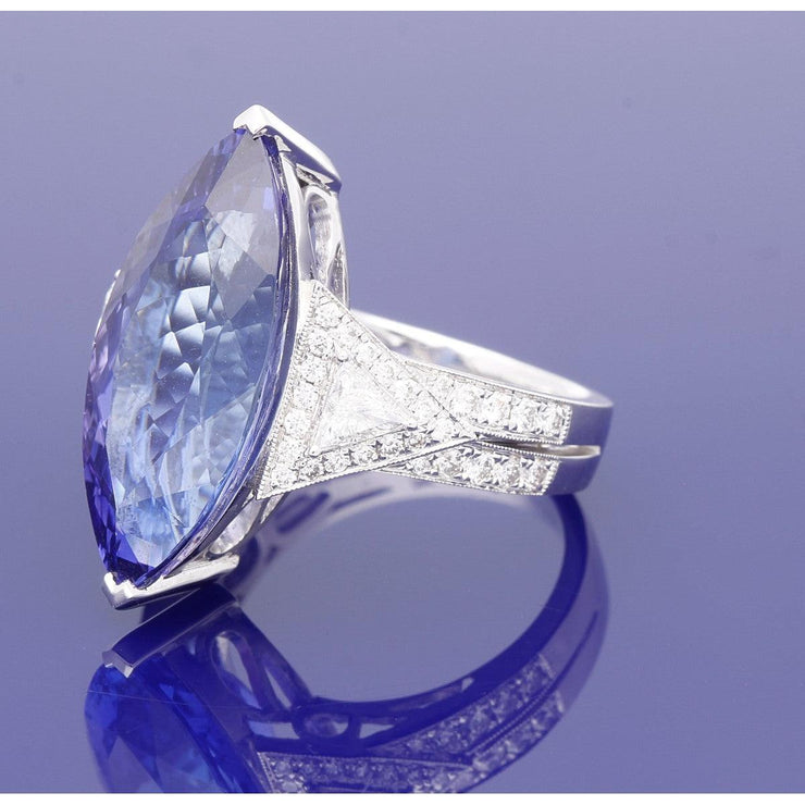 18ct White Gold Marquise Tanzanite and Diamond Cocktail Ring