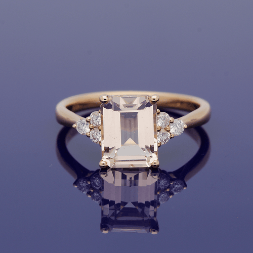 18ct Rose Gold Emerald Cut Morganite and Diamond Trefoil Shoulders Ring