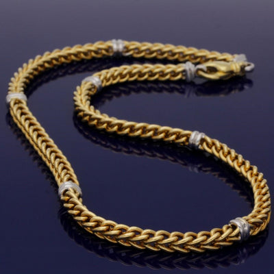 18ct Yellow Gold Fancy Link Chain with 18ct White Gold Detail 17 inch