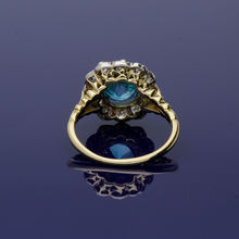 18ct Yellow Gold Blue Zircon and Diamond Flower Cluster Ring