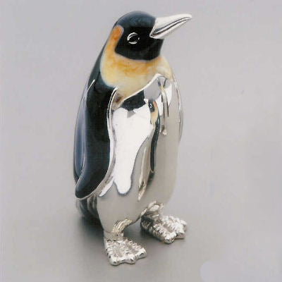 Silver Enamel Emperor Penguin - Medium
