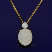 18ct Yellow Gold Opal & Diamond Necklace