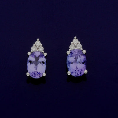 18ct White Gold Oval Tanzanite and Diamond Drop Earrings