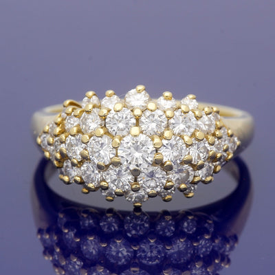 18ct Yellow Gold 2ct Diamond Bombe Cocktail Ring
