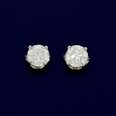 18ct White Gold Certificated 1.42ct Diamond Stud Earrings