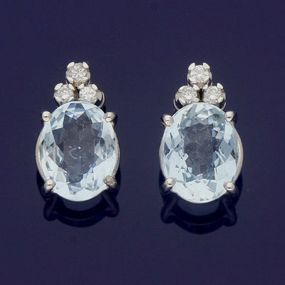 18ct White Gold Aquamarine and Diamond Drop Stud Earrings