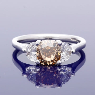 18ct White Gold Trilogy Ring with Certificated Natural Cognac 1.73ct Diamond and Half Moon Diamonds
