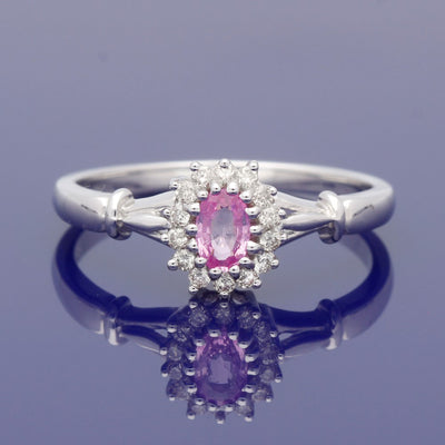 9ct White Gold Pink Sapphire and Diamond Cluster Ring
