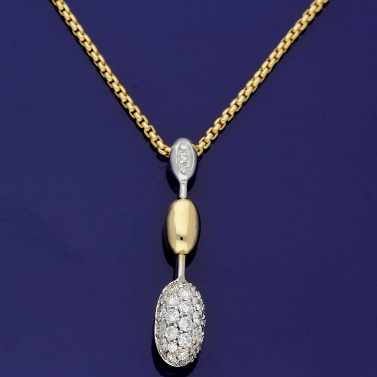 18ct Yellow & White Gold FOPE Pave Diamond Necklace