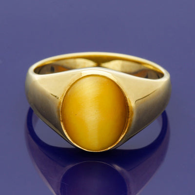 9ct Yellow Gold Oval 13 x 11mm Tiger's Eye Signet Ring - Gold Arts Designed Signet Range