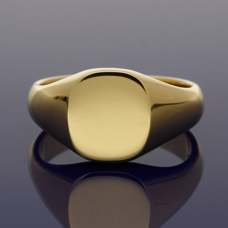 18ct Yellow Gold Medium Cushion 12 x 11mm Solid Signet Ring - Gold Arts Designed Signet Range
