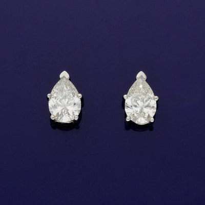 18ct White Gold 1ct Pear Shape Diamond Stud Earrings