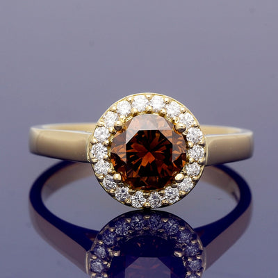 18ct Yellow Gold Diamond Halo Ring with 1.21ct Certificated Chocolate Diamond