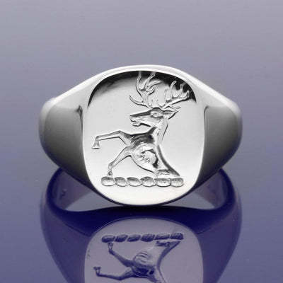 18ct White Gold Intaglio Engraved Stag Designed Cushion Shaped Signet Ring 15 x 13mm - Gold Arts Designed Signet Range