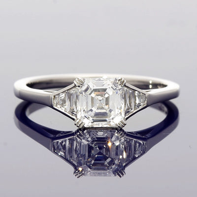 Platinum 0.94 Asscher Cut & Trapeze Cut Diamond Trilogy Style Ring