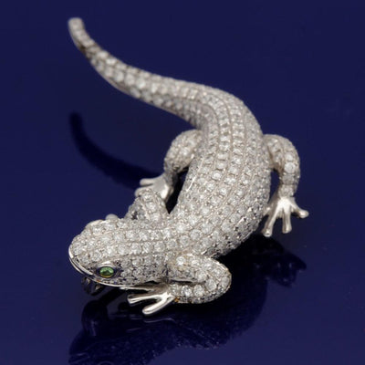 18ct White Gold Pave Set Diamond Lizard Brooch - 2.70ct