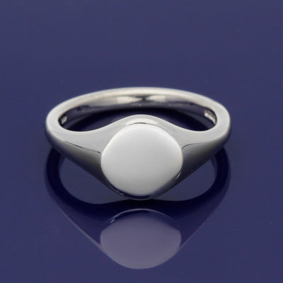 9ct White Gold Small Circular 9mm Solid Signet Ring - Gold Arts Designed Signet Range