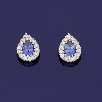 18ct White Gold Sapphire and Diamond Cluster Pear Shape Halo Stud Earrings