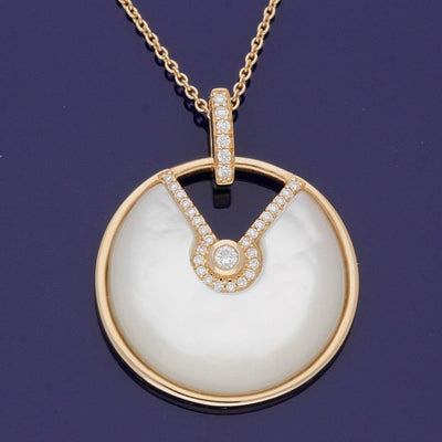 18ct Rose Gold Diamond & Mother of Pearl Necklace