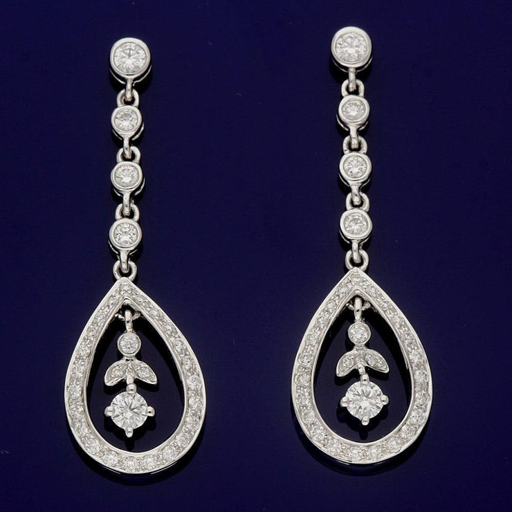 18ct White Gold 0.65ct Diamond Drop Earrings