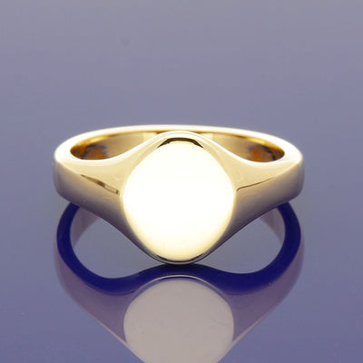 9ct Yellow Gold Small Oval 11 x 10mm Solid Signet Ring