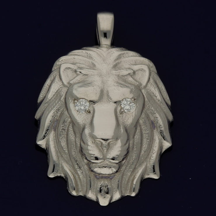 Platinum Lion's Head Pendant with Diamonds