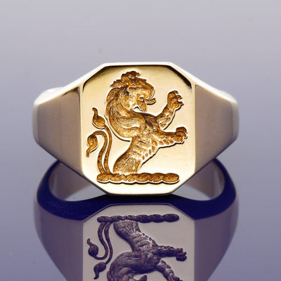 9ct Yellow Gold Intaglio Engraved Lion Rampant Octagonal Signet Ring 14 x 12mm - Gold Arts Designed Signet Range